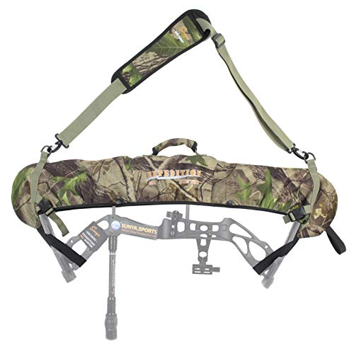 SUNYA Neoprene Compound Bow Sling, Silent Hunting or Fast Movement 2 Carrying Modes Switchable. with a Removable & Adjustable Shoulder Strap. Camouflage Fabric. (Camo with Green Strap)