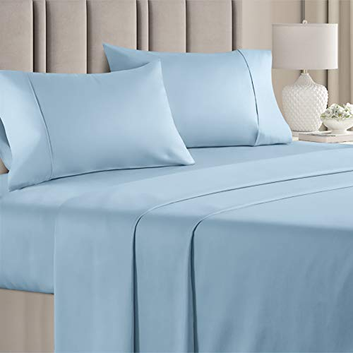 400 Thread Count Cotton - Queen Size Sheet Set - 100% Cotton Sheets - 400-Thread-Count - Sateen Cotton - Deep Pocket Cotton Bed Sheets - Silky & Soft Cotton - Hotel Quality Cotton Sheet for Queen beds