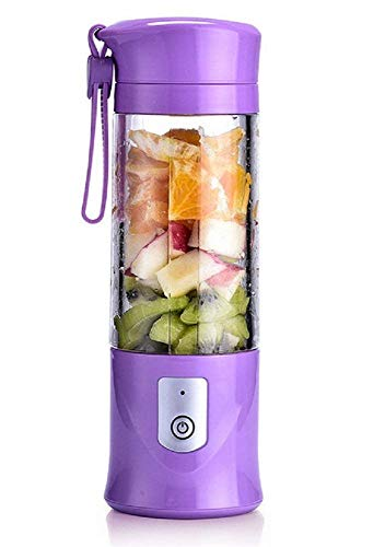 USB Electric Safety Juicer Cup,Fruit Juice Mixer, Blenders,Mini Portable Rechargeable Juicing Mixing Crush Ice and Blender Mixer 420-530ml Water Bottle (Purple)