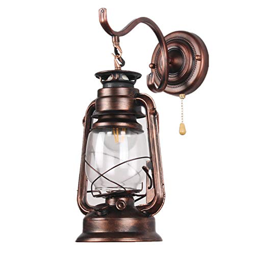 Vintage LED Wandleuchten E27 Petroleumlampe Innen Wandlampe mit Zugschalter, Retro Industrielle Wandlichter Schmiedeeisen Wandbeleuchtung für Wohnzimmer/Schlafzimmer/Korridor/Hotels/Loft,Messing