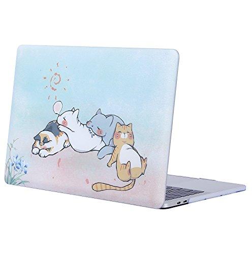 MOSISO Hülle Kompatibel mit MacBook Pro 13 2019 2018 2017 2016 Freisetzung A2159/A1989/A1706/A1708 - Plastik Muster Hartschale Kompatibel mit MacBook Pro 13 Zoll, Niedliche Cartoon Katze