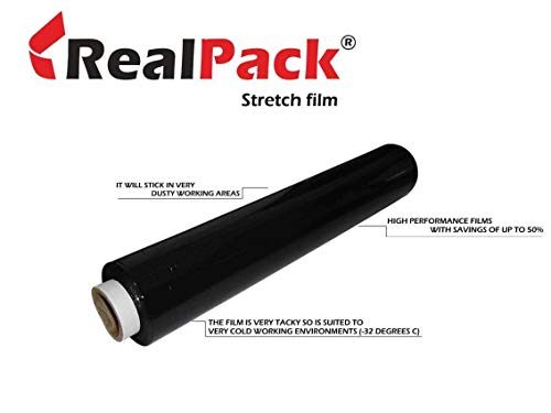 Realpack 1 Black Pallet Stretch Wrap Cling Film 400mm x 250m