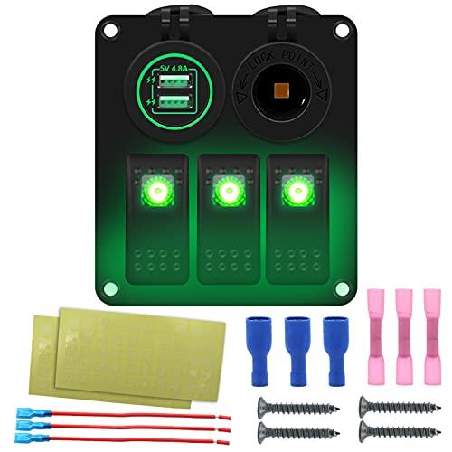 Ksodgun Panel de interruptores basculantes para barcos marinos a prueba de agua de 3 bandas con retroiluminación LED azul/rojo/verde Cargador USB dual de 4,8 V + base de fuente de alimentación para