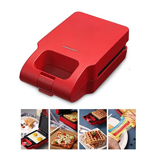 Tostadora 2 en 1 Sandwich Maker/Grill/Waffle placa de acero inoxidable con revestimiento antiadherente extraíble Sandwich Maker para tostador/verduras/pan parrilla de contacto rojo