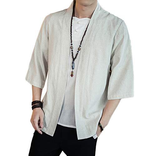 GladiolusA Chaqueta Haori Cárdigan Kimono Japón Capa Abrigo Corto para Hombres Beige XL