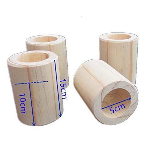 Risers de lit de couleur (bois) résistants à l'original en bois | 4PCS | Élévateurs de meubles