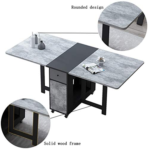 Mesa de Centro Mesa Plegable Simple Mesa de Comedor retráctil Multifuncional Mesa de Comedor casa Rectangular Mesas (Color : Black, Size : 150 * 80 * 74cm)