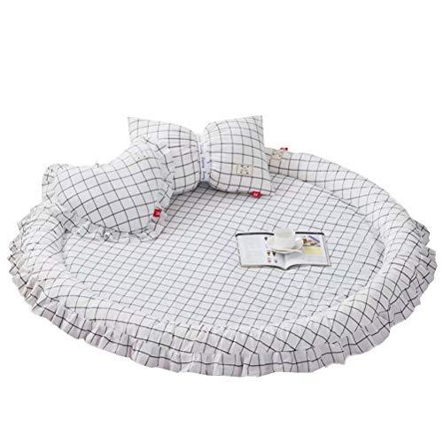 JHion baby kruipdeken mat kindertapijt rond met 2 kussens babykamer decoratie speelvellen f140cm*4cm wit