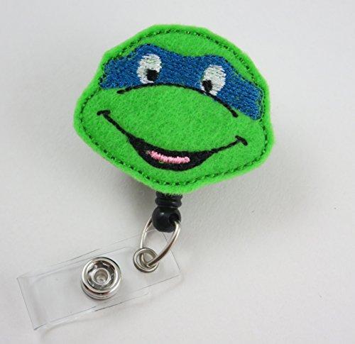 Ninja Turtle Face Blue - Nurse Badge Reel - Retractable ID Badge Holder - Nurse Badge - Badge Clip - Badge Reels - Pediatric - RN - Name Badge Holder
