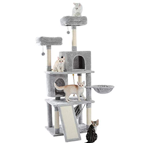 Made4Pets 634quot Cat Tree MultiLevel Cat Tower with 2 Luxury Condos 2 Cozy Perches and Hammock Grey