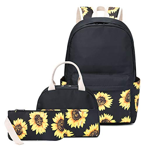 Sunflower Canvas Backpack Set for College Girls Women, 14' Laptop Backpack Casual Daypack School Bookbag