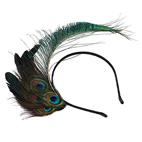 PIXNOR Diadema de Plumas de Pavo Real Diadema de Aleta India Gran Diadema de Gatsby Disfraz 20S Accesorios para El Cabello para Mujeres Nias Cosplay Sombreros