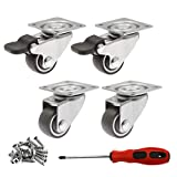 Luomorgo 4 Pack 1' Caster Wheels Rubber Swivel Heavy Duty Casters with 360 Degree Top Plate, 100 lbs Total Capacity Caster for Set of 4 (2 with Brakes & 2 without)