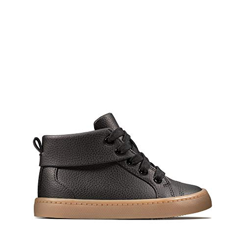 Clarks Jungen City Oasis HT Hohe Sneaker, Schwarz (Black Leather Black Leather), 27.5 EU