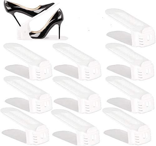 BIGLUFU Organizadores Ajustables de Zapatos con Ranuras Soportes de Calzado Apilador para Zapatos Ahorro de Espacio (Set de 10pcs)