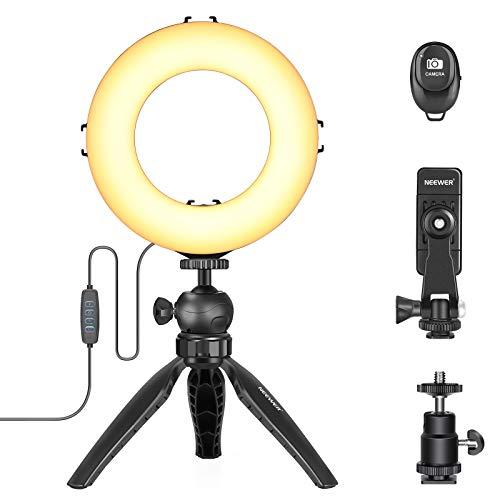 Neewer 6 Inches Anillo de Luz LED con Soporte para Trípode Mini Luz para Cámara de Escritorio con Soporte de Luz de 6,3 Inches y Soporte para Teléfono para Transmisión en Vivo