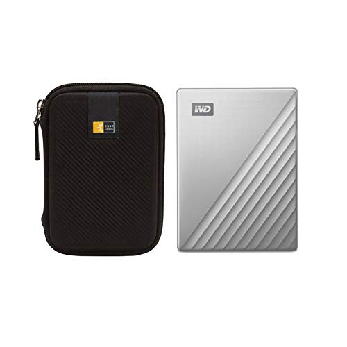 WD 2TB My Passport Ultra USB 3.0 Type-C Slim Portable External Hard Drive (Silver) + Compact Hard Drive Case (Black)
