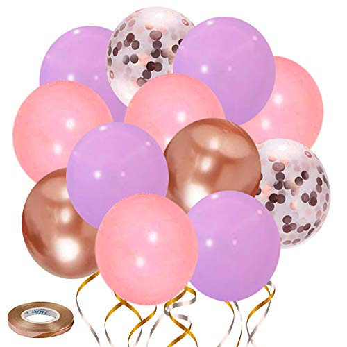 Pink and Purple Balloons-50pcs 12 inch Rose Confetti Balloons and Metallic Rose Balloon- Latex Confetti Balloons for Birthday Wedding Baby Shower Celebration Party Balloons