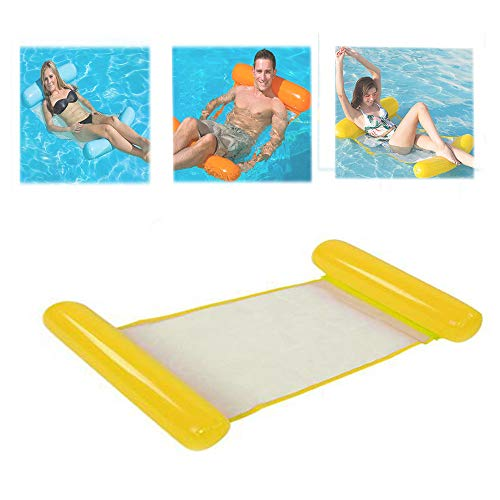 Water Hammock Recliner Inflatable Floating bed Swimming pool Floating Swimming Mattress sea Swimming Ring,Yellow