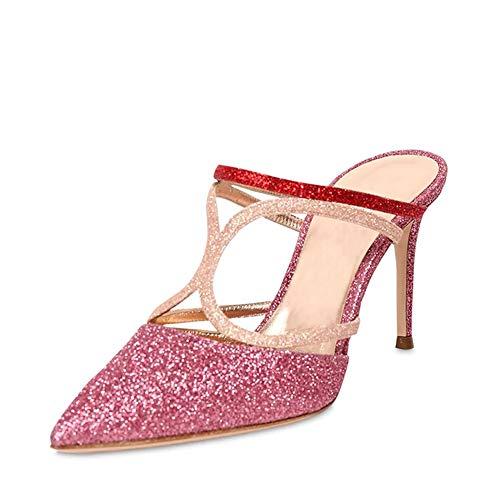 WL Frauen-Sandelholz-Absatz-Sandelholz-Knöchel-Bügel-Damen Stilettos Riemchen Brautparty-Abschlussball-Kleid-Schuhe,Rose red,39