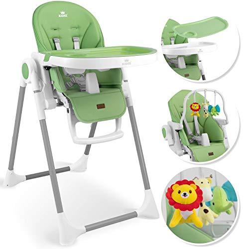 KIDIZ® 3in1 Hochstuhl Kinderhochstuhl inkl. Spielbügel, Babyliege, Kombihochstuhl Babyhochsitz,7 höhenverstellbar Verstellbare Rückenlehne, mitwachsend ab 0 Monate bis 6 Jahre Babystuhl, Grün