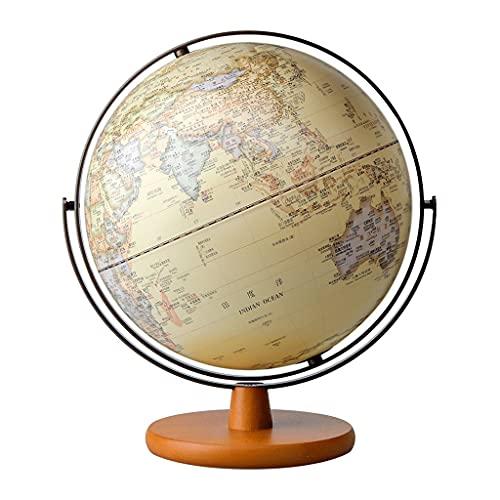 Mappamondo Illuminato Con Supporto In Legno Mappamondo Geografico Grande 2in1 Antico Globi Di Terra Da Tavolo Per Bambini (Color : 30cm diameter)