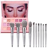 Eyeshadow Palette,10 Pcs Pro Premium Synthetic Make up Brush + 18 Color Makeup