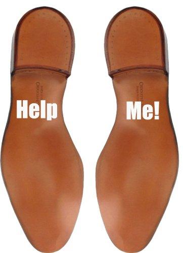 Pegatinas para Suela de Zapato con Frase'Help Me' para Novio en el Día de la Boda - Blanco Brillo
