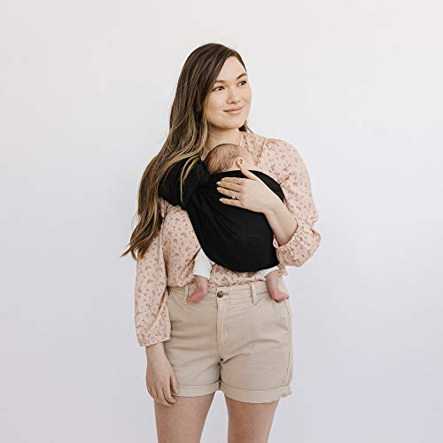 WildBird Ring Sling Baby Carrier Made from 100% Belgian Linen - Solid Color, Newborns to Toddlers - (Raven Fabric/Rose Gold Ring)