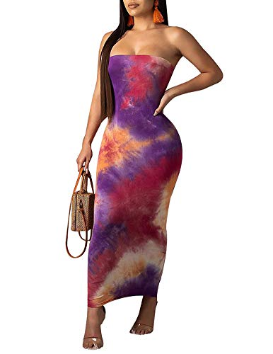 Ophestin Women Sexy Strapless Tube Tie Dye Ombre Print Off Shoulder Tight Bodycon Long Pencil Maxi Dress Purple M