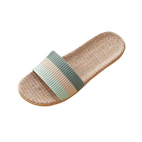 Inawayls Frauen Flachs Hausschuhe Damen Sommer Mode Casual Slip On Indoor Home Hausschuhe Flat Beach Slipper Schuhe