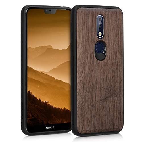 kwmobile Holz Schutzhülle für Nokia 7.1 (2018) - Hardcase Hülle mit TPU Bumper Walnussholz in Dunkelbraun - Handy Case Cover