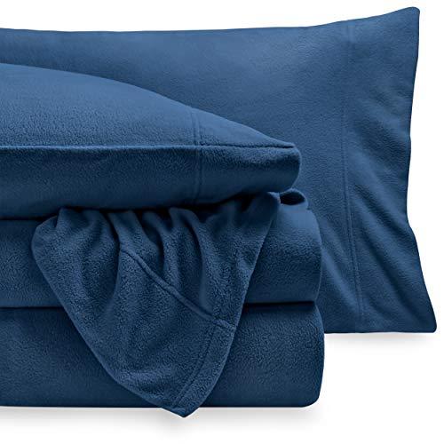 Micro-Fleece Cozy Hypoallergenes Premium Bettlaken-Set (Queensize, dunkelblau)