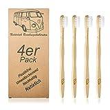 Juego de 4 cepillos de dientes de bambú, ecológicos y...