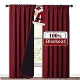 Cortinas opacas de Nicetown 100% con forro negro, paneles térmicos aislados para sala de estar, cortinas reductoras de ruido para Navidad, rojo burdeos, 132 cm de ancho x 213 cm de largo, juego de 2