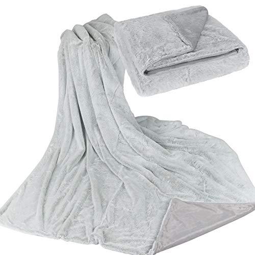 JEMIDI Kuscheldecke Felloptik Chinchilla Silber Decke Winterfell ca.150cm x 200cm Sofadecke Felldecke Überwurf Pelzdecke Imitat Pelz Optik Webpelz Chinchilla Silber