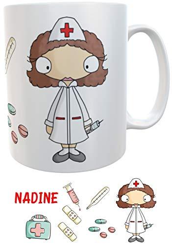 Kilala personalisierbar Kaffeetasse, Namenstasse mit Aufdruck Krankenschwester mit Herz, inkl. Geschenkverpackung, Weiß
