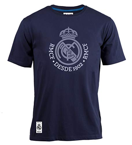 Offizielles T-Shirt Real Madrid Logo Marine 2018 2019 in Blister, Marineblau, XXL