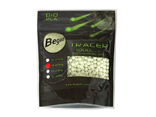 BEGADI 1.000 Airsoft Bio Tracer BBS 6mm 0,25g, minimale Toleranzen -grün Leuchtend-