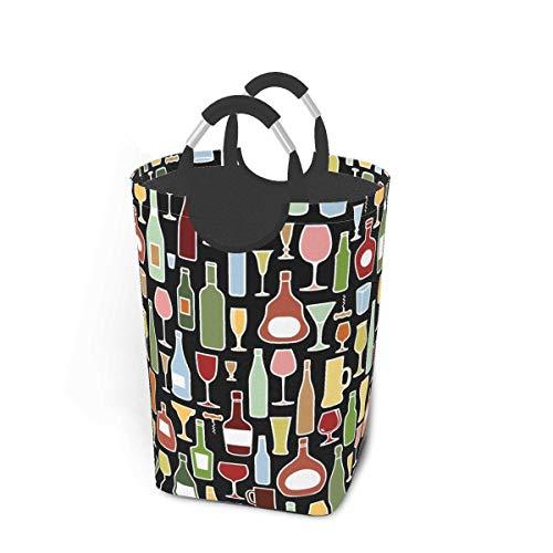 N\A Bebida Patrón de Vino Cesto de lavandería Contenedor de Lavado Cesto de Ropa Plegable con asa Almacenamiento de Ropa Sucia 50 litros