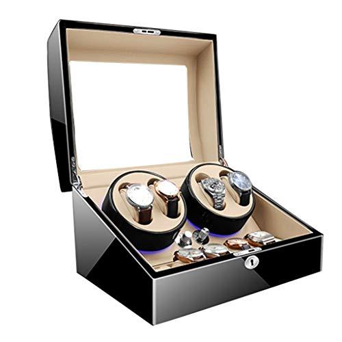 CHYOOO Reloj Caja Automático Estuche Bobinadora 4+6 Cajas Giratorias Watch Winder LED Piano Paint Reloj Giratorio Caja De Exhibición Pantalla De Almacenamiento De Motor Silencioso 5 Modos Caja almacen