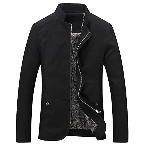 Blazer Kurtka Mężczyźni Wiosna Jesień Mężczyźni Business Coat Pracuj Płaszcz Stojak Kołnierz Zipper Kurtka Mężczyźni Znosić Lekki żakiet (Color : Noir, Size : 3XL)