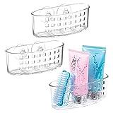 mDesign Plastic Suction Shower Caddy Storage Basket - Soap and Sponge Holder for Bathroom Organization of Body Wash,...