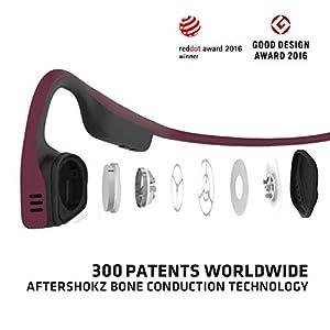 Aftershokz Titanium Open Ear Wireless Bone Conduction Headphones, Canyon Red, AS600CR