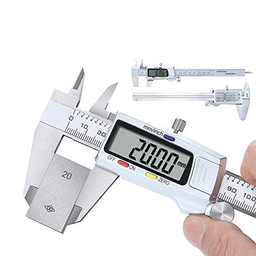Calibre Digital,Pie de Rey Digital 150mm/6 Pulgadas Calibrador Profesional de Acero Inoxidable Calibrador Vernier con Pantalla Digital LED,Medir Diámetro Interno,Escalón,Diámetros y Profundidad
