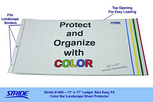 "Stride EasyFit Color Bar Sheet Protectors, 11"" x 17"", Landscape Orientation, Box of 60 (61400),Multicolor Photo #2"