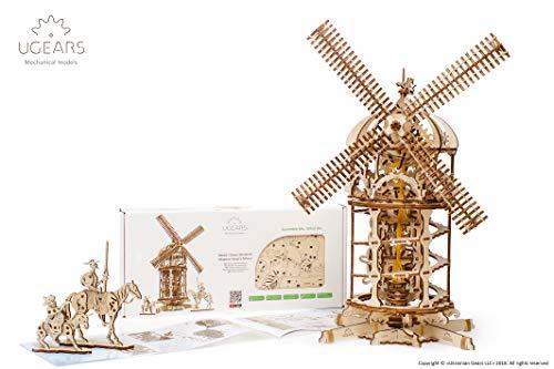 UGEARS 70055 3D Turm-Windmühle Holzpuzzle Modellbau Set Denkspiel-DIY Puzzle Lernspielzeug-Umweltfreundlicher Erwachsene & Kinder Modellbausatz aus Holz, beige