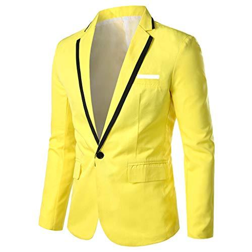 TWISFER Herren Slim Fit Sakko V-Ausschnitt Anzugjacken One Button Blazer mit Vordertasche Blazer Slim Fit Lange Ärmel Revers Freizeit Tanzparty Festival Party Geschäft Coat