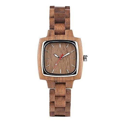 HYLX Reloj de Madera, Reloj de Madera Cuadrado único para Hombres, Reloj de bambú para Amantes, Reloj de Pulsera de Madera Completo Retro, Relojes de Pulsera de Cuarzo para Hombres y Mujeres