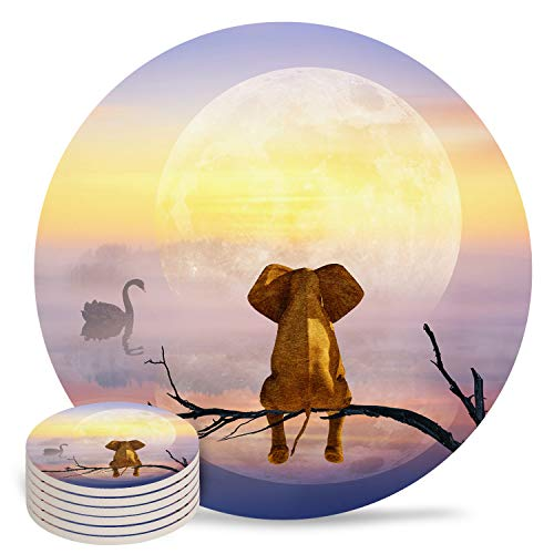 6-Piece Set Ceramic Coasters for Drinks,Elephants Sitting on A Dry Tree and Watching The Moon Unique Absorbent Round Ceramics Cork Backed Cup Mat for Home/Housewarming Gift
